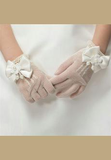 Flower Girl's Lace Bowknot Net Voile Wedding Gloves Princess Glove