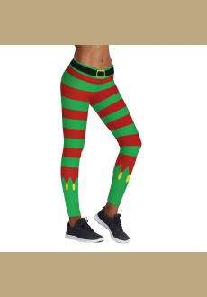 Women's Chic Ugly Santa Christmas Leggings Funny Costume Tights