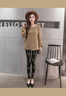 Women Trendy Studded Lace Rivet Leggings Thermal Faux Leather Pants