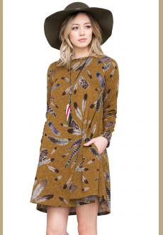 Mustard Feather Graphic Pocket Tunic Dress