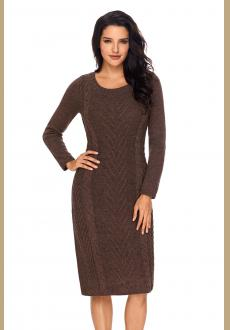 Coffee Women's Hand Knitted Sweater Dress
