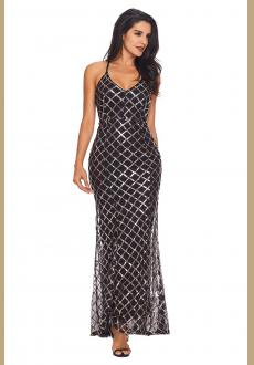 Black Gold Sequins Crisscross Maxi Evening Dress