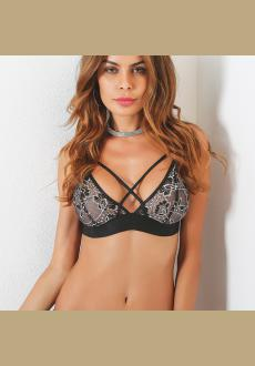 Black Crochet Lace Embellished Crossed Collar Bra