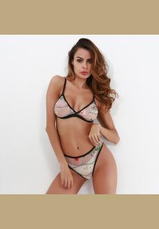Women's Sexy Floral Flowers Embroidered Lingerie Set Mesh See-Through Bras Bikini Bralette Set and Underwear Suit