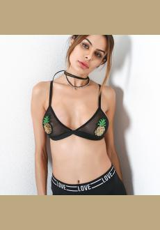Women's Pineapple Embroidered Lingerie Bra Floral Mesh See-through Crop Tops Sexy Everyday Bra Bralette
