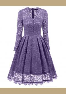 Women's Retro Floral Lace Long Sleeve Vintage Swing Cocktail Bridesmaid Dress S-XXL