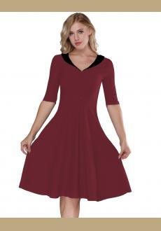 Women's Wine Red & Black   Retro Vintage Style Cocktail Party Swing Dress