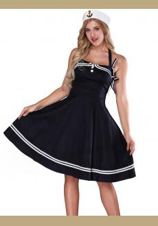 Women's 1950s Halter Vintage Rockabilly Dress Pinup Retro Sailor  Costume