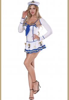 Women's Sailor Costume Roleplay Uniform Sexy Sailor Halloween Costume Captain Dress
