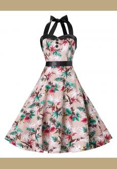 Women's Vintage Halter Floral 50's 60's Retro Rockabilly Swing Cocktail Prom Dresses