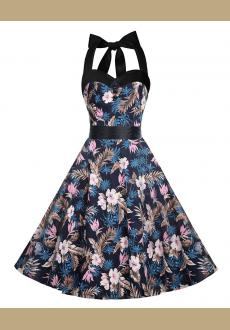Women's 1950's Halter Floral Vintage Retro Cocktail Party Swing Dress