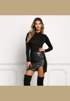 New Fashion Women Black Faux Leather Vintage Skirts Vogue Lace Up Pencil Mini Skirt Sexy Split Side Bodice Short Skirts