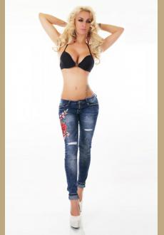 Mid Rise Distressed Rose Embroidery Jeans