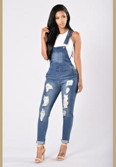Womens Overalls Casual Denim Ripped Hole Pants Adjustable Bib Jeans Jumpsuit Rompers