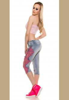 Women Patchwork Lace Floral Jeans Hollow Out Casual Denim Pencil Pants