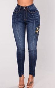 Denim stretch embroi...