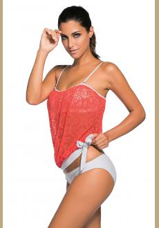 Orange Lace Overly 2pcs Bandeau Tankini Swimsuit