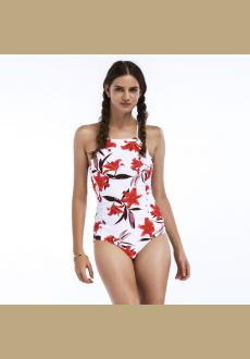 Criss Cross Back Red Lily One-Piece Swimsuit