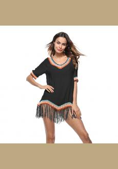 Tassels Mid-Length V-Neck Women's T-shirt