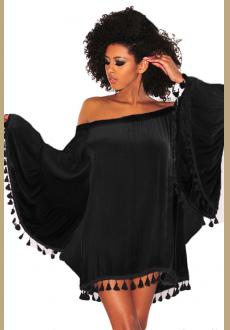 Black Off Shoulder Black Tassel Trim Dress