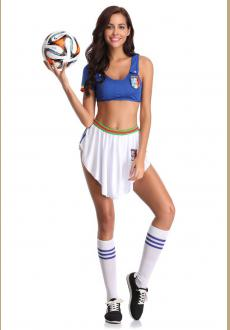 Cosplay Clubwear Sexy Uniform Soccer Player Cheerleader World Cup Football Girl party dress High School Musical fancy Dr