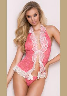 Low Cut Mesh And Lace Chemise Set