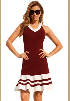 Burgundy White Cute Ruffle Hem Mini Dress