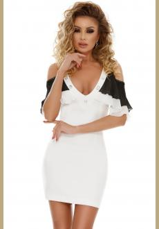 Spliced Ruffle Sleeves Cold Shoulder Mini Bodycon Dress