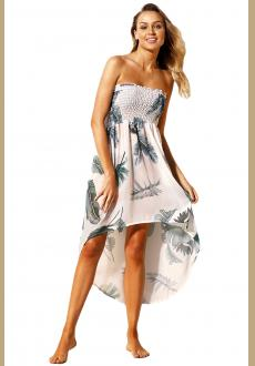 Tropical Leaf Print White Convertible Beach Dress