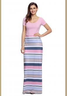 Pink Crisscross Back Muliticolor Maxi Dress