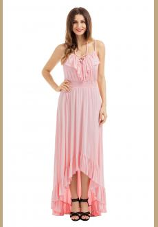 Lace Up V Neck Ruffle Trim Hi-low Maxi Dress