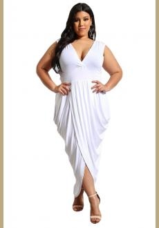 Black Partying Draping Maxi Length Plus Size Dress