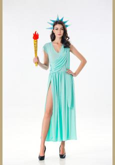 Patriotic Party Miss Statue of Liberty Adult Cosplay Costume for Women