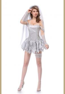 Adult Women Halloween Corpse Bride Costume Ladies Short Sexy Halter Dress Cosplay Fancy Outfit For Women