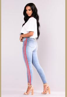 Athlete Jeans  Blue Red jeans with side stripe fashion