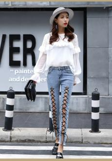 Fashion Denim Hollow Out Lace Up Slim Women's Pencil Jeans