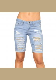 Mid Rise Wash Denim Destroyed Shorts