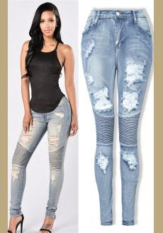 Women Slim Denim Straight Biker Skinny Ripped Jeans Ladies Stretch Ripped Sexy Skinny Jeans Womens High Waisted Slim Fit