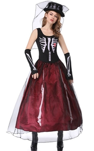 Ghost Bride Series Cosplay Costumes Scary Skull Vampire Queen Long Dress Zombie Witch Fancy Dress for Halloween-in Holid