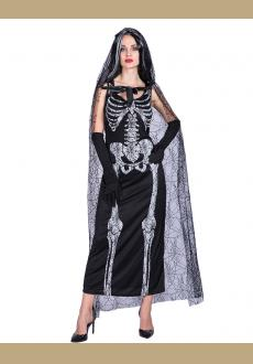 2018 Halloween Ghost Bride Cosplay Costumes Dress Skull Printed Scary Net Mesh Hooded Cape Coats Fancy Party Long Maxi D