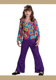 outfit for girls for carnival flower in T shirt and pants put children's outfit Halloween costumes hippie outfit girl