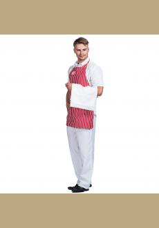 Men red stripe apron Retro Diner Dude Costume