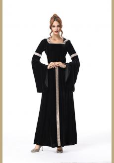 Long Gothic Velvet Dress Witch Role Play Hooded  Wicked Witch Costume Dress Medieval Vintage Gowns Halloween  Cosplay Co
