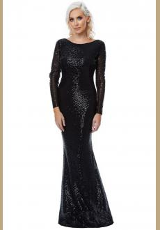 2018 Sexy O-Neck Blackless Sequin Dresses Long Sleeve Mermaid Sequined Maxi Dress Floor Length Evening Party Dress Gown