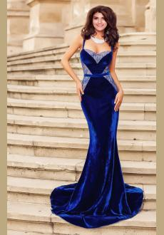 Evening gown of velvet and lace mermaid blue