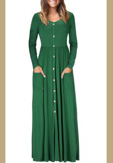 Hunter  Button Front Pocket Style Casual Long Dress