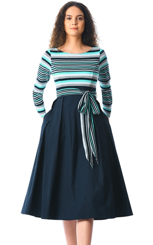 Navy  Striped Poplin...