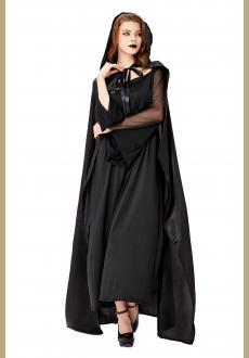 Gothic Black Vampire Dress Adult Devil Cloak and Dress Halloween Costume