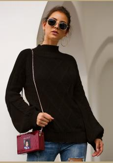 Women Turtleneck Knit Long Loose Lantern Sleeve Solid Color Fashion Warm Sweater Pullover Tops