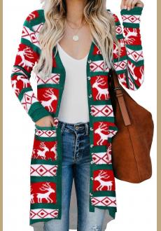 Red Christmas Element Print Long Cardigan